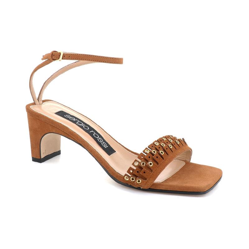 sergio rossi sandales Sandales à FrangesSR SANDALE FRANGE T6 - NUBUCK -