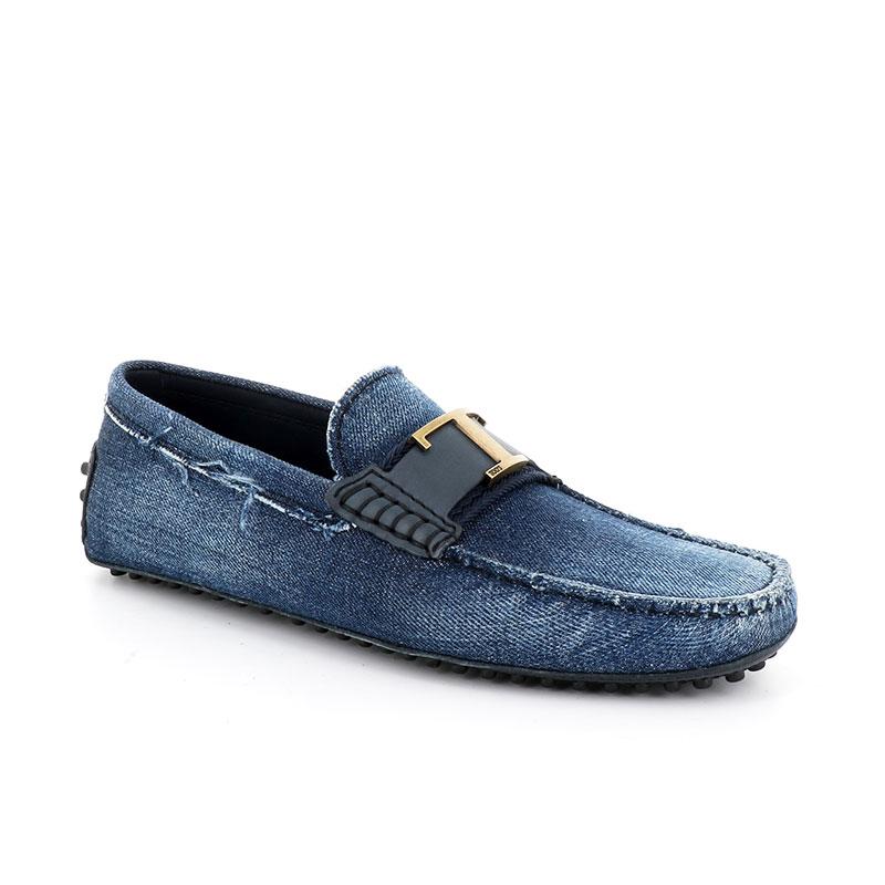 tod's mocassins et slippers Mocassins gommino double tGOMME T2 - TOILE - BLEU JEAN 2