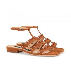sergio rossi sandales Sandales à FrangesSR NP FRANGE - NUBUCK - WOOD