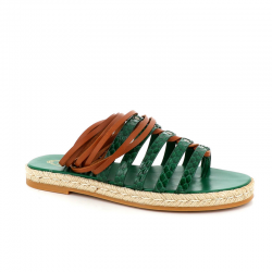tod's sandales Sandales à lacetsTOD'S NP RAFIA - CUIR IMPRIMÉ PY