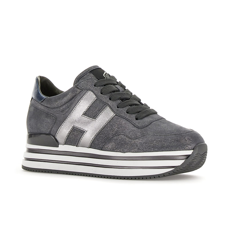 hogan sneakers Sneakers H222ELIUM - NUBUCK IRISÉ - GRIS ET L