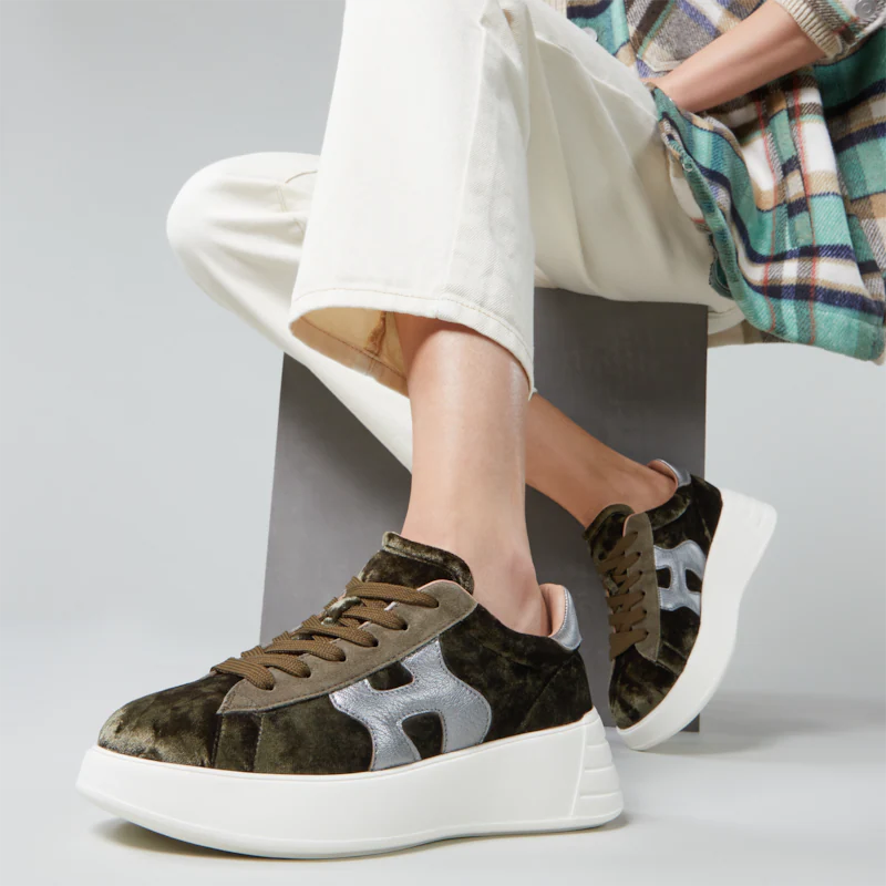 hogan sneakers Sneakers H562HF H562 - VELOURS IMPRIMÉ - KAKI