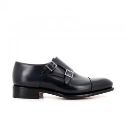 santoni chaussures à boucles Double-boucle CarterCART - CUIR GLACÉ ET PATINÉ - BL
