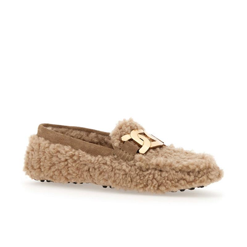 tod's mocassins et slippers Mocassins GomminiT CATENA - NUBUCK ET FOURRURE -