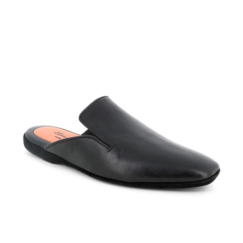 santoni chaussures d'intérieur santoni slippersSANTONI SLIPPERS - CUIR - NOIR