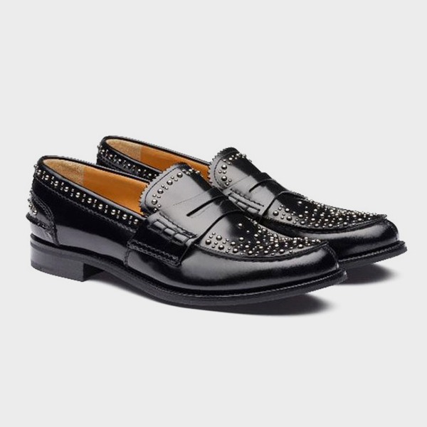 CHURCH'S - Mocassins - Pembrey F Met - Cuir Clouté Noir
